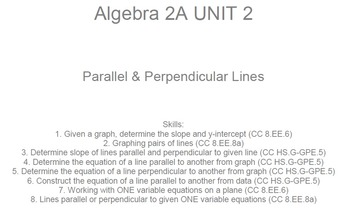 HS Algebra 2A UNIT 2: Parallel & Perpendicular Lines (5 wr