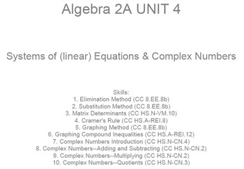 HS Algebra 2A UNIT 4: Systems of Equations;Complex Numbers (5 wrkshts;7 quizzes)