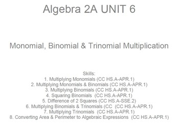 HS Algebra 2A UNIT 6: Binomials+ Multiplication (5 wrkshts;7 quizzes)