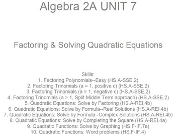 HS Algebra 2A UNIT 7: Factoring & Solving Quadratics (5 wr