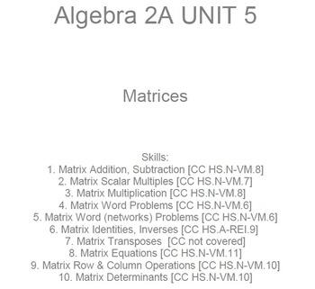 HS Algebra 2A UNIT 5: Matrices (5 wrkshts;7 quizzes)