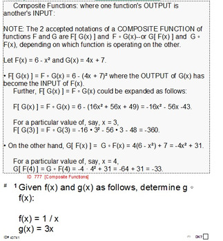 HS Algebra 2B UNIT 5: Function Operations (5 wrkshts;7 quizzes)