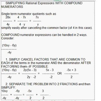 HS Algebra 2B UNIT 6: Rational Expressions & Equations (5 wrkshts;7 quizzes)