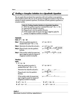 Algebra 2:Complex Solutions to Quadratic Equations,Cubic Equations, &Polynomials