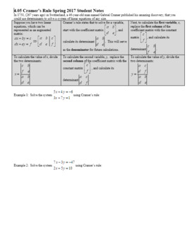 Algebra 2H 4.05 Cramers Rule Spring 2017 (Editable)