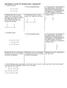 Algebra 2H 4.08 Matrices on the TI Calculator Day 1 Spring 2017 (Editable)