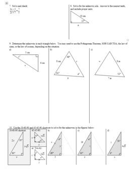 Algebra 2H 5.04 Law of Cosines Solving for Sides Spring 2017 (Editable)