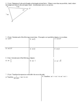 Algebra 2H 5.17 Group Practice Test Unit 5 Spring 2017 (Editable)