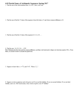 Algebra 2H 6.03 Partial Sums of Arithmetic Sequences Spring 2017 (Editable)