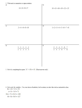 Algebra 2H 6.04 Summation or Sigma Notation Spring 2017 (Editable)