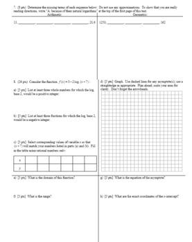 Algebra 2H 6.22 Algebra 2H Group Practice Test Unit 6 Spring 2017 (Editable)