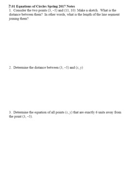 Algebra 2H 7.01 Equations of Circles Spring 2017 (Editable)