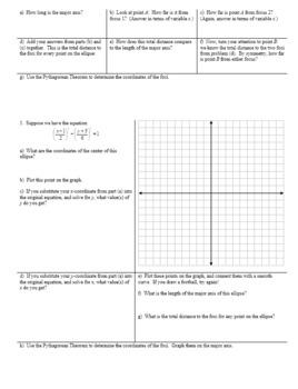 Algebra 2H 7.04 Graphing the Ellipse Spring 2017 (Editable)