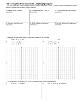 Algebra 2H 7.15 Solving Quadratic Systems by Graphing Spring 2017 (Editable)