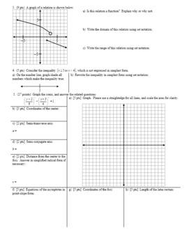 Algebra 2H 7.17 Group Practice Test Algebra 2H Conics Spring 2017 (Editable)