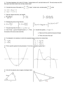 Algebra 2H Final Exam Study Guide with Key Spring 2017 (Editable)