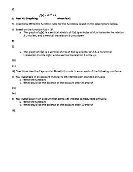 Algebra 2b - week 2 review