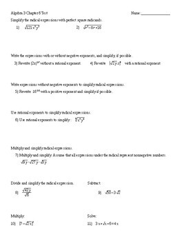 Algebra 3 Chapter 6 Test Radicals and Imaginary Numbers