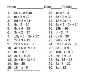 Algebra - 30 problems - some 2 step equations