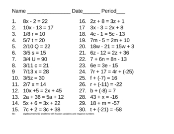 Algebra - 30 problems - some with fraction variables