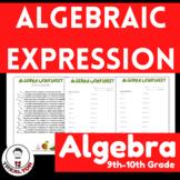 Algebra|Algebraic Expression| Translating Word Problems: Worksheets|