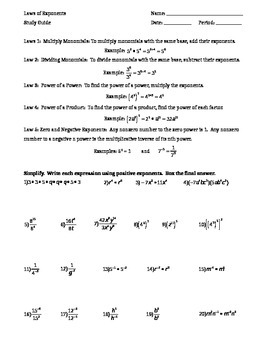 Algebra / 8th Grade Math Laws of Exponents Study Guide wit