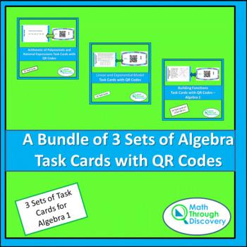 Algebra 1:  A Bundle of 3 Sets of Task Cards
