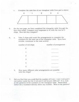 Algebra:  A Development of Pascal's Triangle