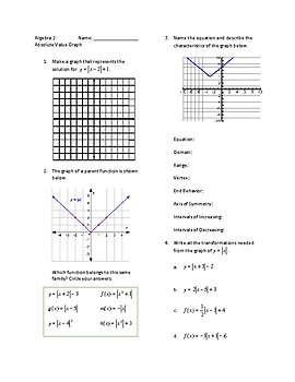 Algebra 2 Absolute Value Equation Solve and Graph Worksheet
