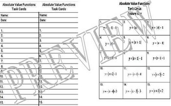 Algebra Absolute Value Functions Graphs Task Cards A-CED.2, F-IF.4