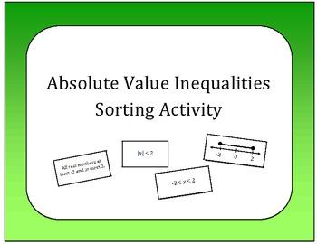 Algebra: Absolute Value Inequalities Card Sort
