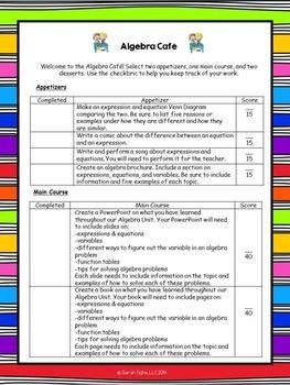 Algebra Choice Board (Common Core Aligned)