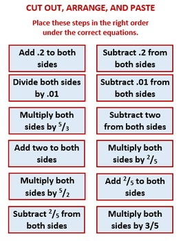 Two Step Equations, Algebra Activity, Sort It Out