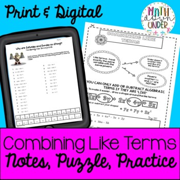 Algebra Combining Like Terms- Interactive, Doodle, and Organize