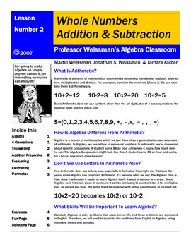 Algebra: Addition Subtraction Whole Numbers