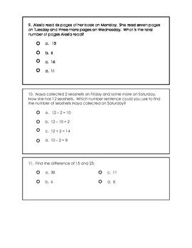 Algebra, Addition, Subtraction, and Number Sense Pre-Test