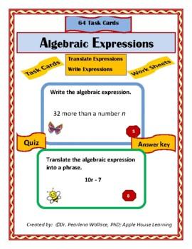 Algebra:   Algebraic Expressions Task Cards & Worksheets Grades 4, 5 and 6