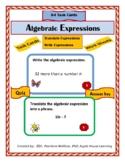 Algebra:   64 Algebraic Expressions  Task Cards - Write & Translate Expressions