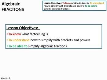 Algebra: Algebraic Fractions (Factorising) + worksheet