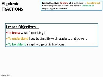 Algebra: Algebraic Fractions (Factorising) + worksheet