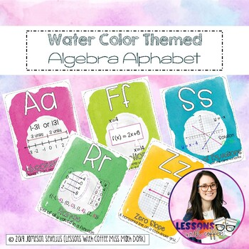 Algebra Alphabet {water color theme}