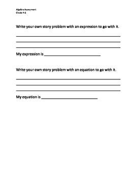 Algebra Assessment - Grades 4-6