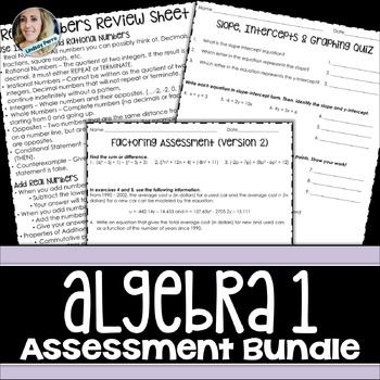 Algebra 1 Assessments Bundle
