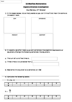 Algebra Assignment / Extended Task / Investigation