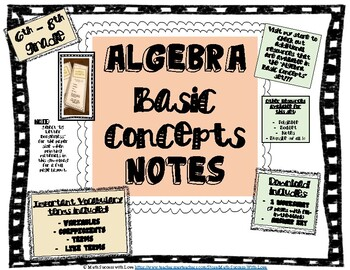 Algebra Basic Concepts NOTES - Terms, Examples, and Practice with Concepts