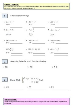 Algebra: Basic Function worksheet