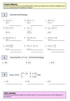 Algebra: Basic Function worksheet