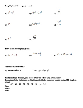 algebra basic skills test study guide by mckenzie s math shop tpt rh teacherspayteachers com alabama basic skills test study guide wonderlic basic skills test study guide