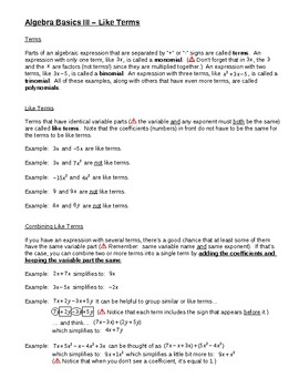 Algebra Basics III – Like Terms for Busy Teachers