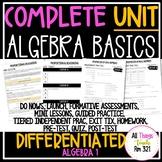 Algebra Basics: No PREP Complete UNIT + Differentiated + Answer Keys (ALG 1)